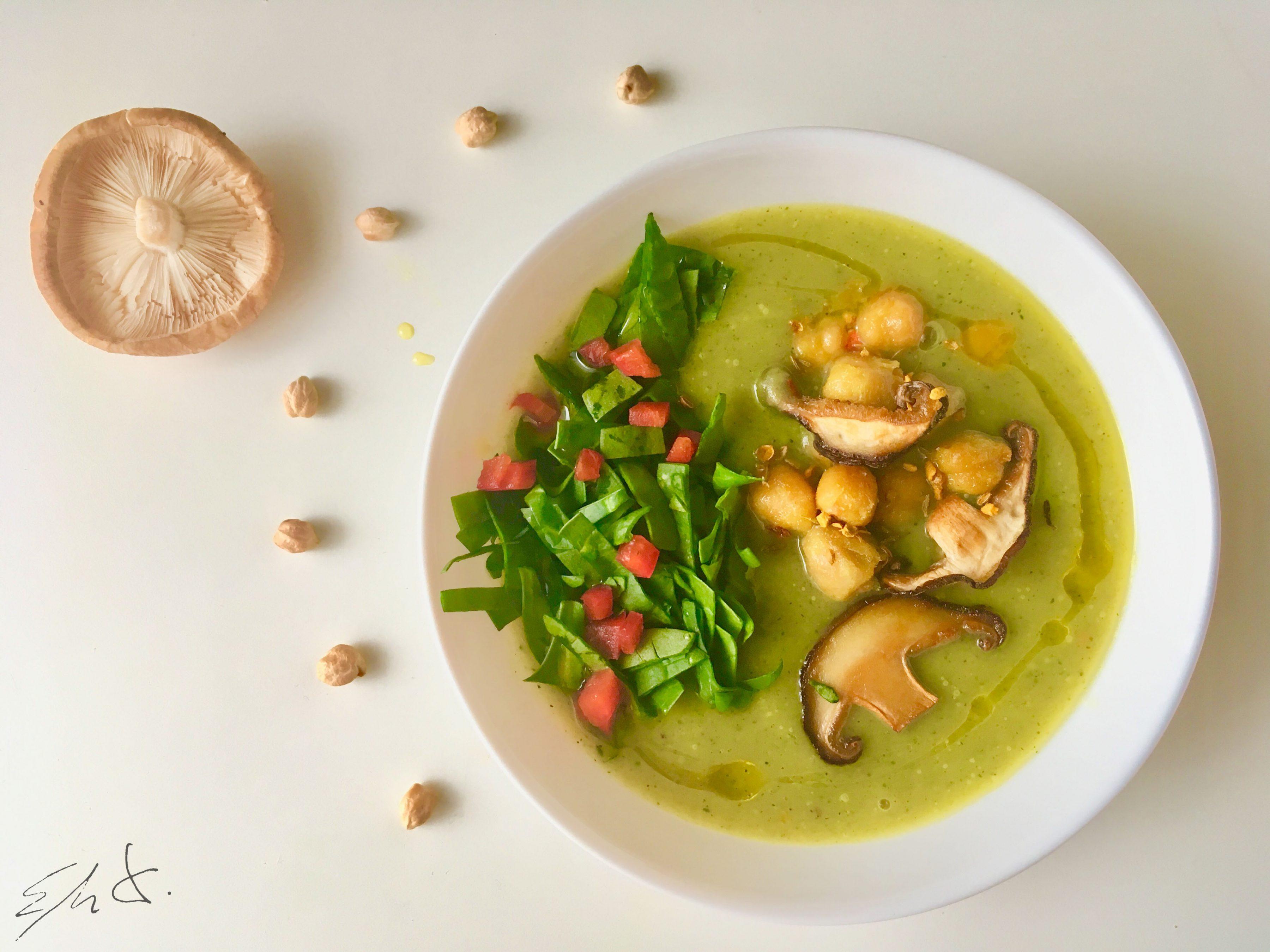 Puré de con garbanzos y shiitake al curry